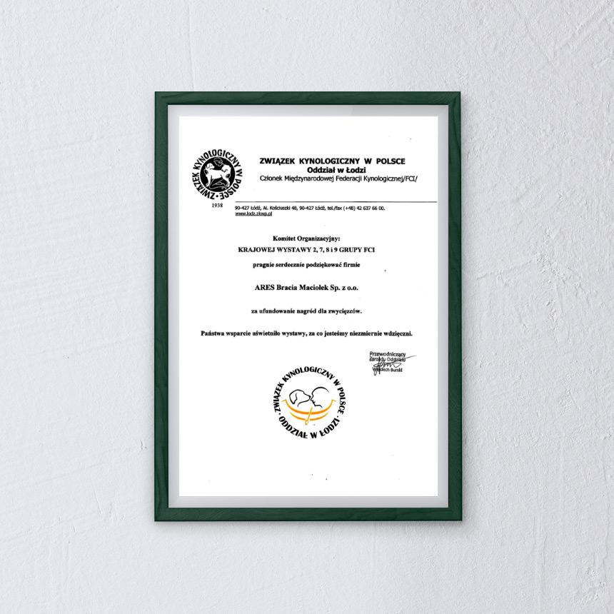 Ares Dyplom Związek Kynologiczny